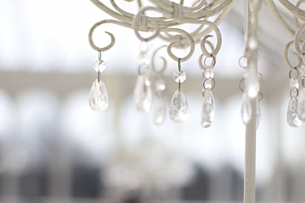 Crystals hanging from a table decoration