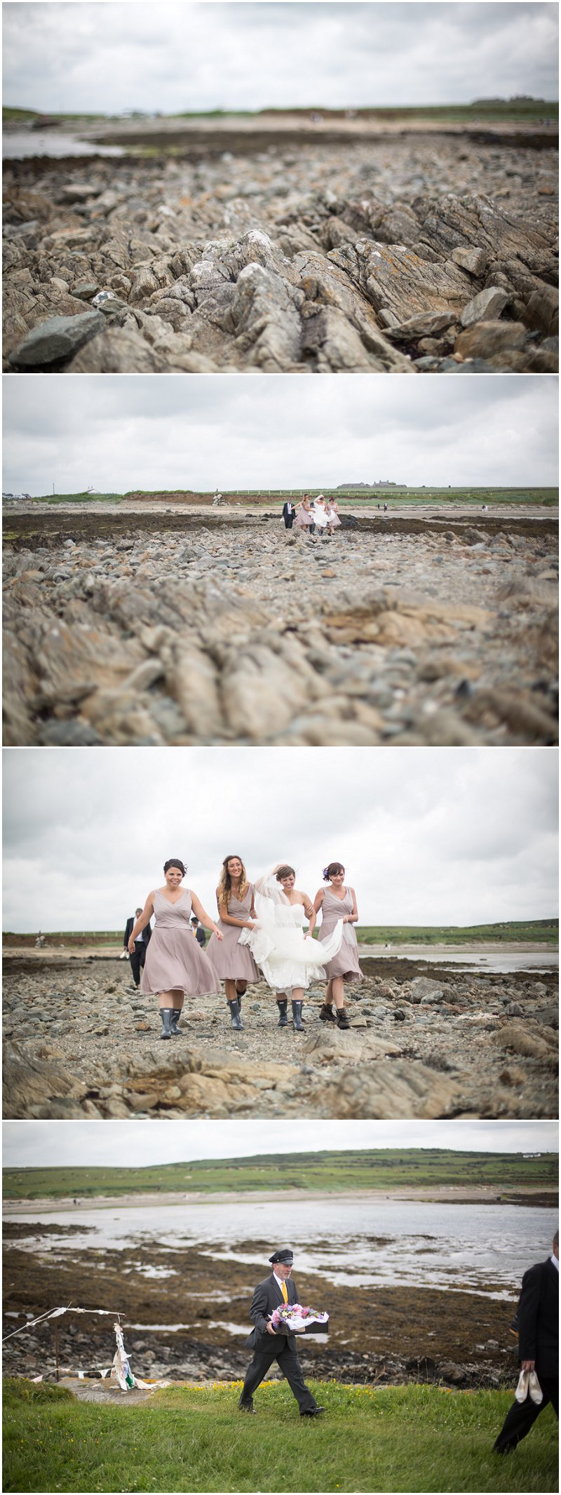 Bride Arrives at The Church on the Sea Wedding in Anglesey Wales