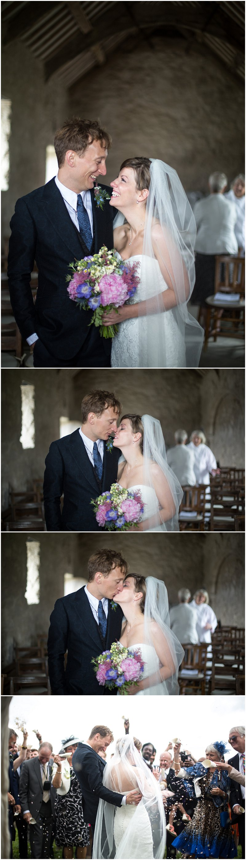 Beautiful Bride and Groom after ceremony at The Church on the Sea Anglesey Wedding Photographer