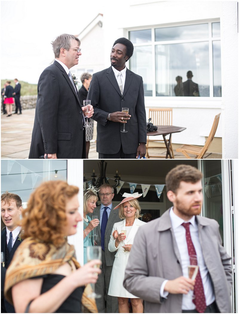 Guests enjoying wedding celebration in Wales