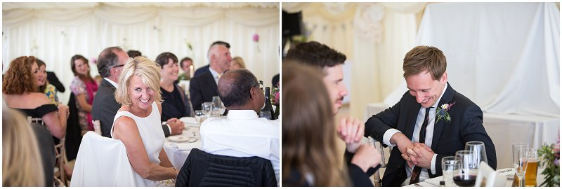 Family laughing during wedding speeches
