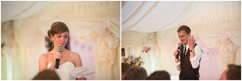 Bride and Groom give speeches at Anglesey Wedding