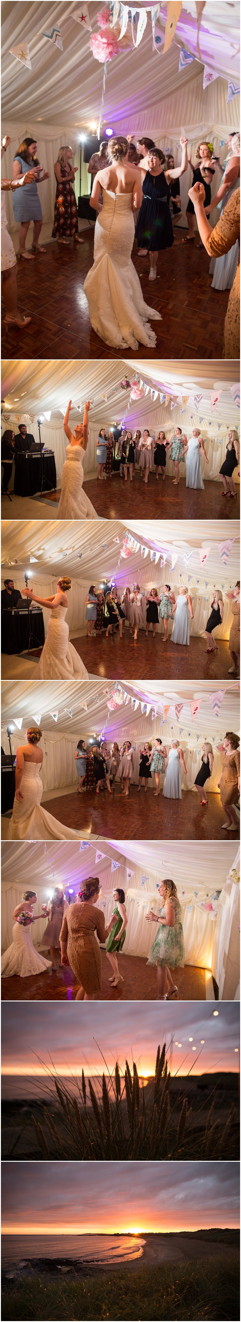 Tossing of the Boquet and Sunset at Anglesey Marquee Wedding Wales