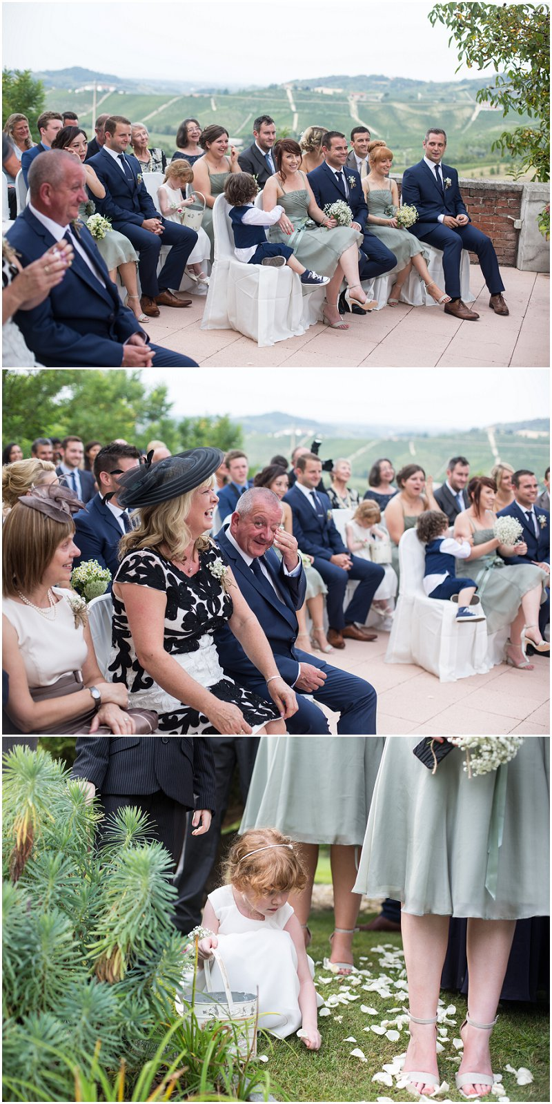 Wedding guests during ceremony Piedmont Italy