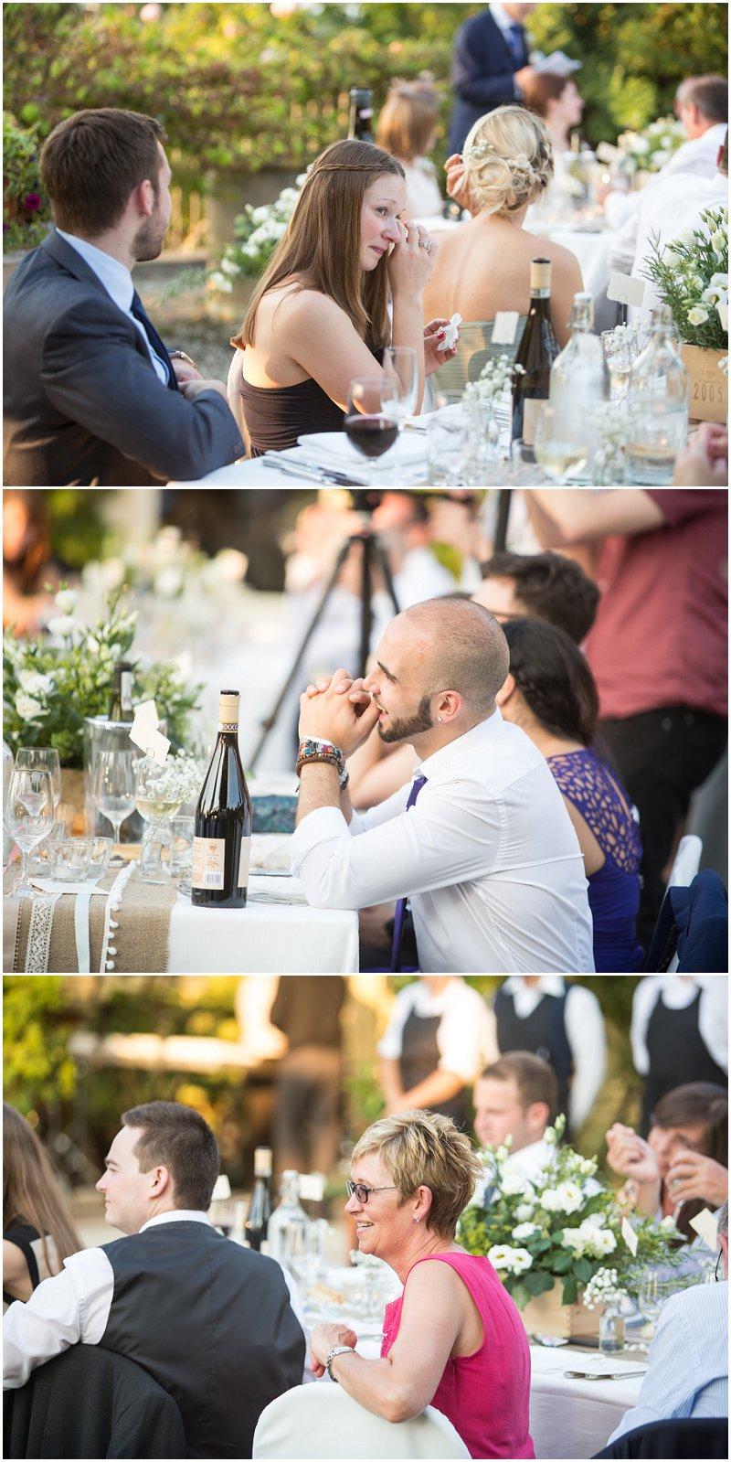 Guest reactions during speeches at La Villa wedding reception