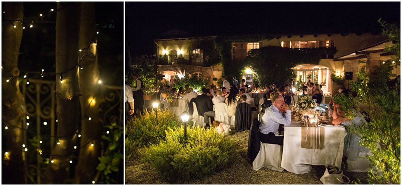 Guests enjoying a meal by candlelight in Italy wedding