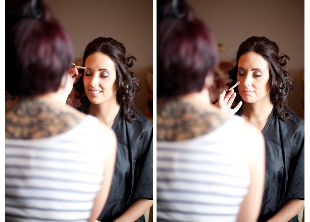Bride getting ready in the West Tower Bridal suite, Lancashire