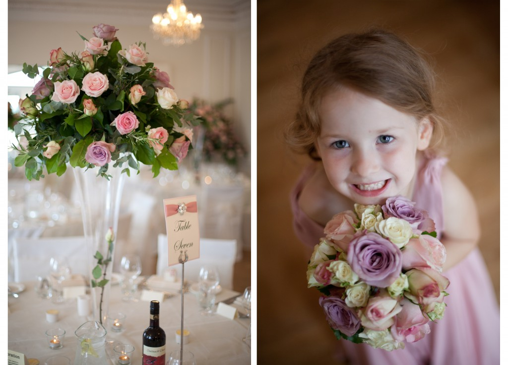 Wedding flowers and a very cute bridesmaid, West Tower Wedding Photography