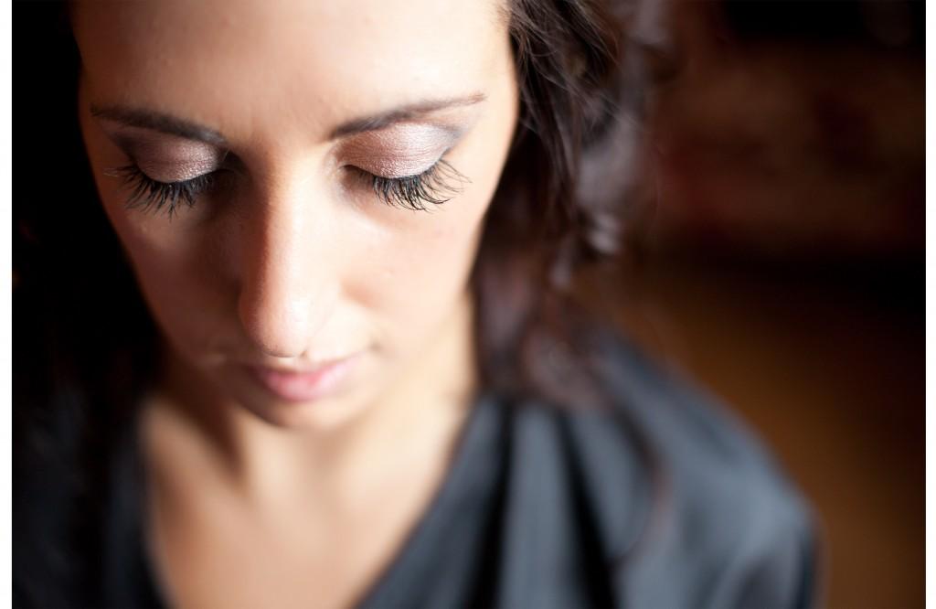 Close up shot of bride's eyes. Beautiful creative wedding photography, Lancashire