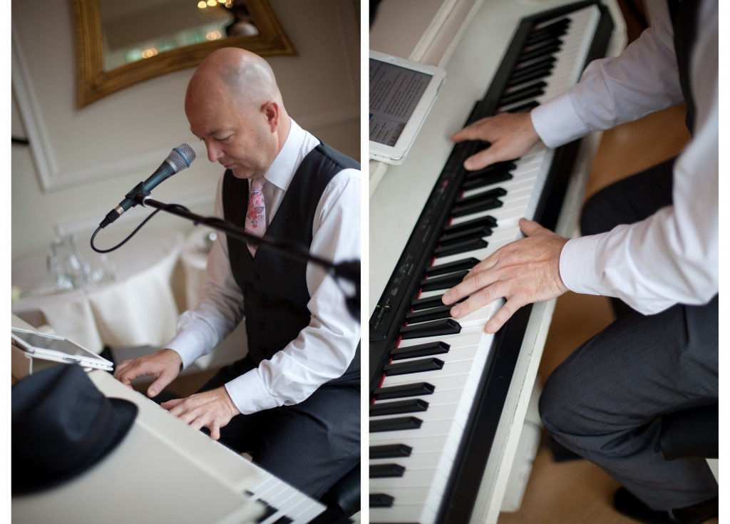 Close up shots of the singing piano man at West Tower, Lancashire wedding photography