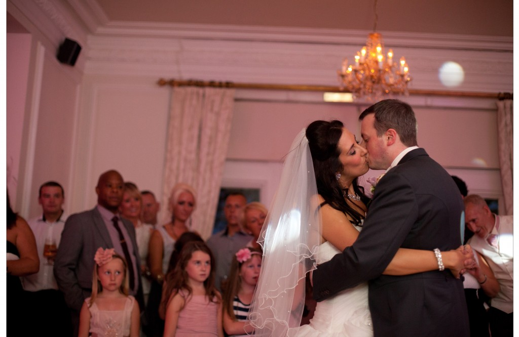 First Dance- West Tower Wedding Photography - Bride and groom kissing