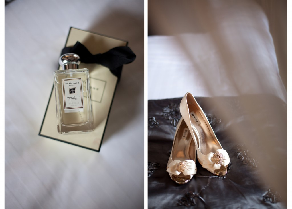 Jo Malone perfume and gorgeous shoes, detailed wedding photography shots