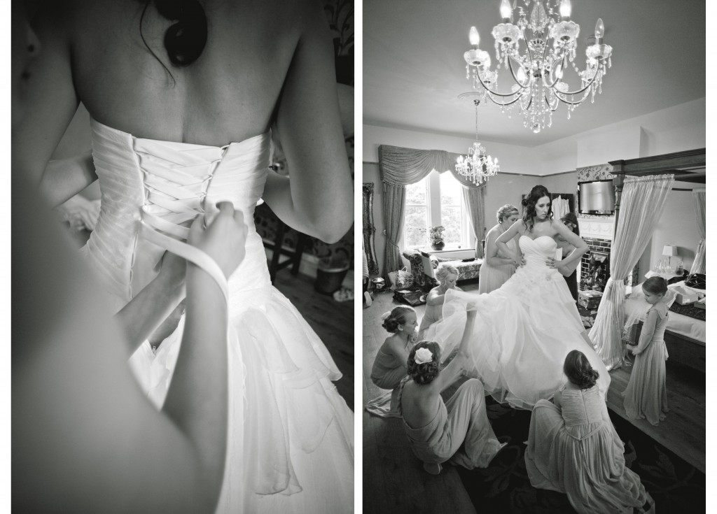 A bride getting into her wedding dress at West Tower, Lancashire Wedding Photography