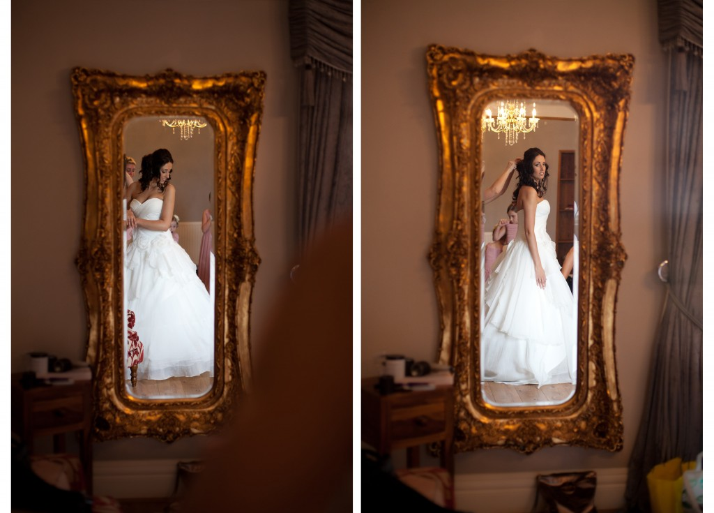 A bride reflected in the mirror, West Tower Wedding Photographer