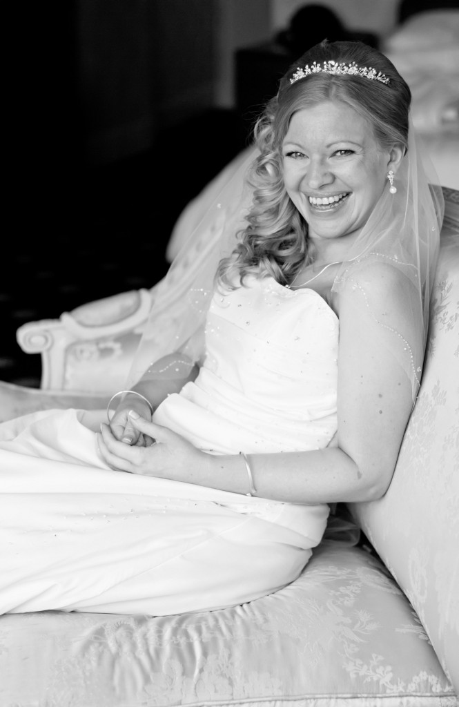 Gorgeous Bride Smiling - Bridal Preparations at Abbey House Hotel Cumbria