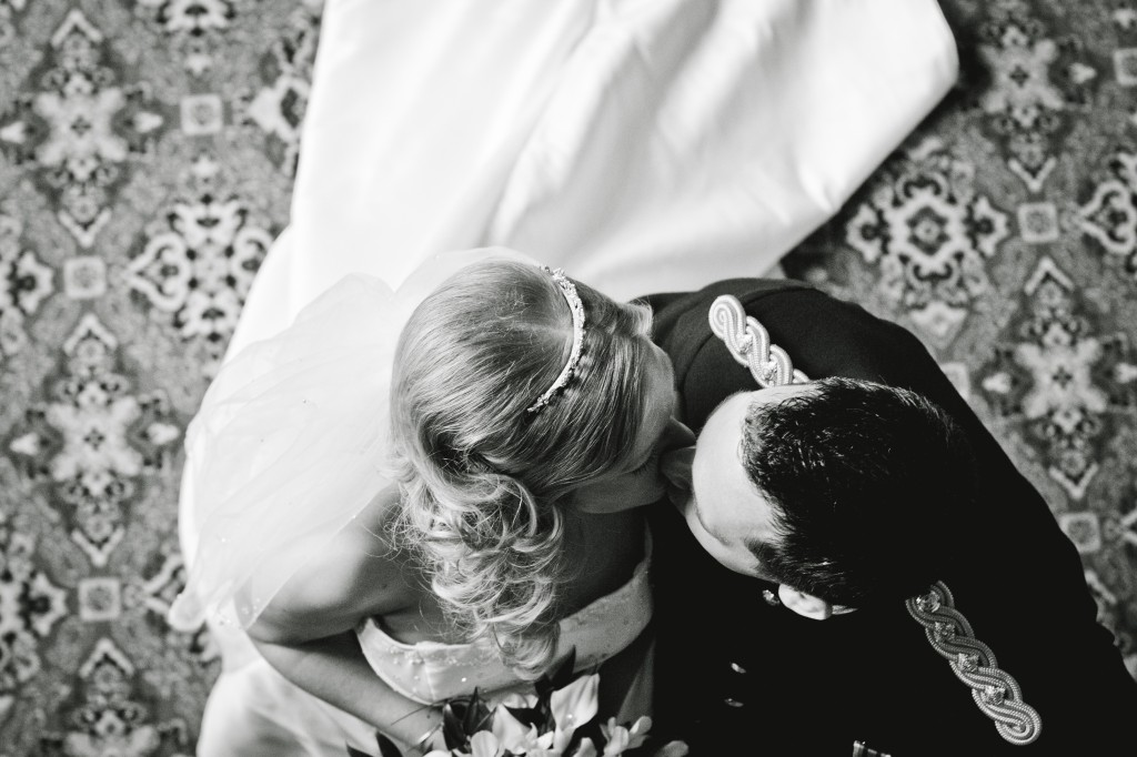 First Kiss - Bride and Groom at Abbey House Hotel