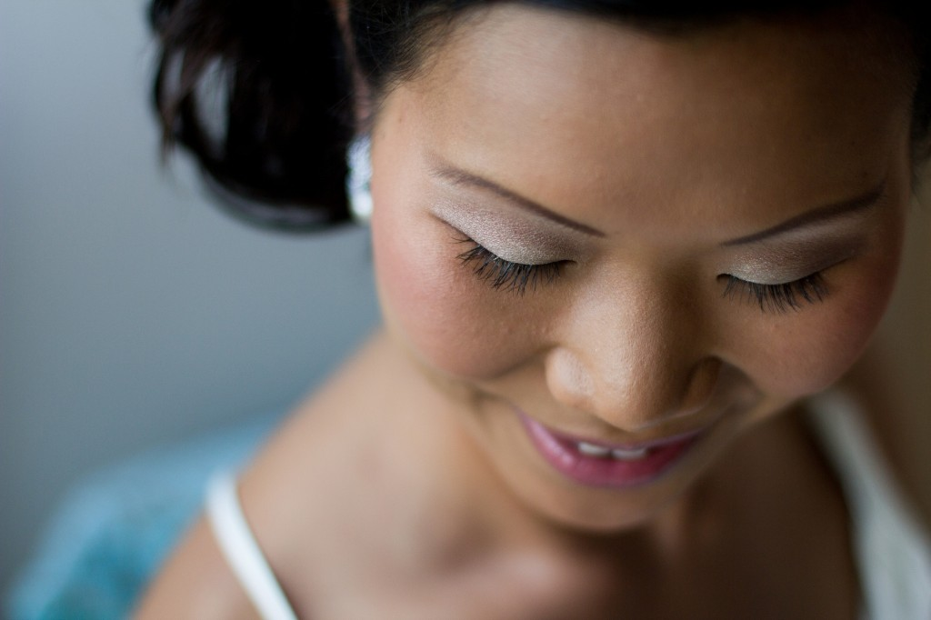 Very beautiful eyes- a close up shot during bridal preparations at Cumbria