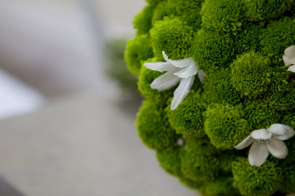 Unusual wedding flowers, green flowers surround a white flower in a bridal bouquet. Stunning wedding photography, Cumbria