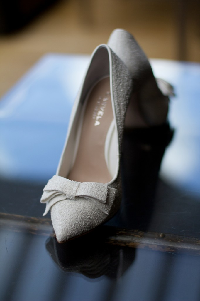 A second detailed wedding photograph of wedding shoes