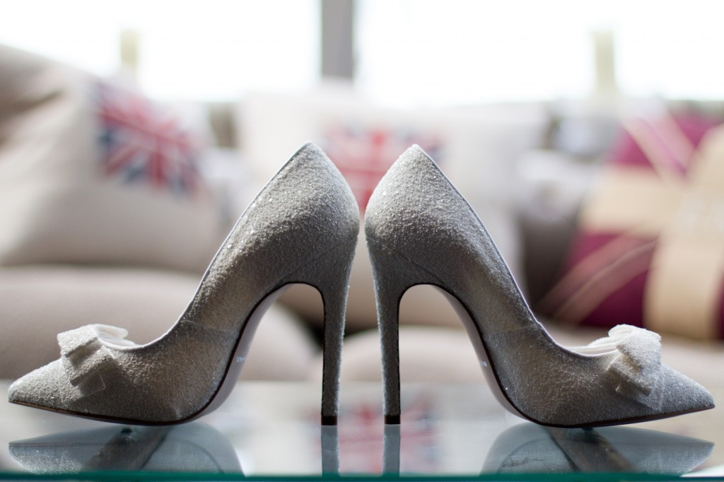 Wedding shoes, the bride's stunning shoes on display at Linthwaite House Hotel's conservatory