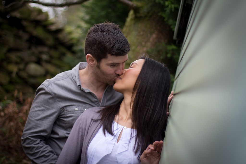 Engagement Photos Round The Back of a Shed Lake District