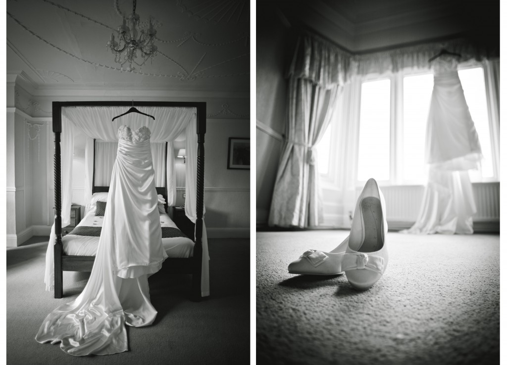 Stunning detail shots of dress and shoes, Country House Hotel Wedding Photographer