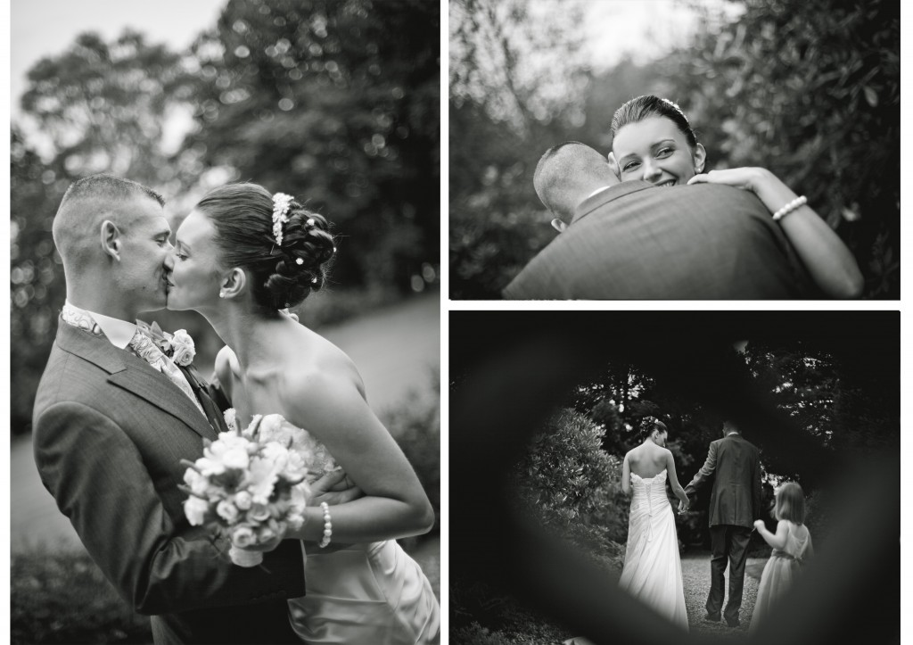 Beautiful black and white shots of bride and groom