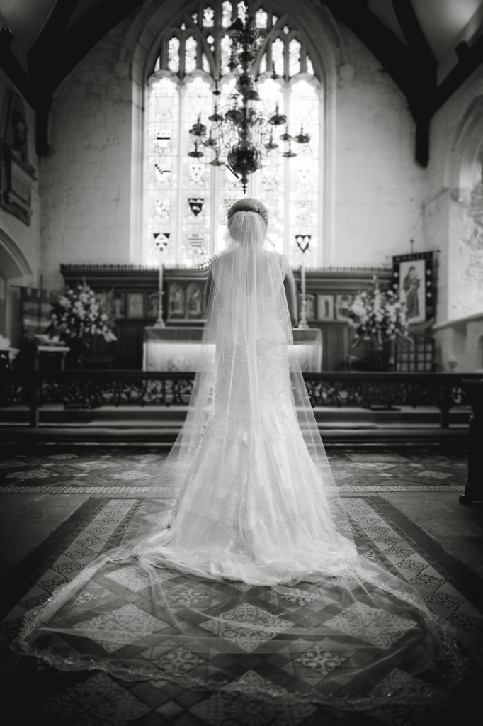 A bride stands at the alter after just getting married, Blackburn Lancashire