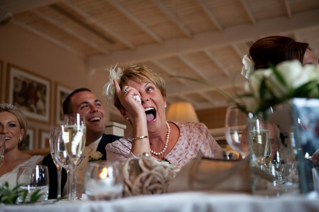 Groom's Mother during Best Man's speech, Blackburn wedding photography