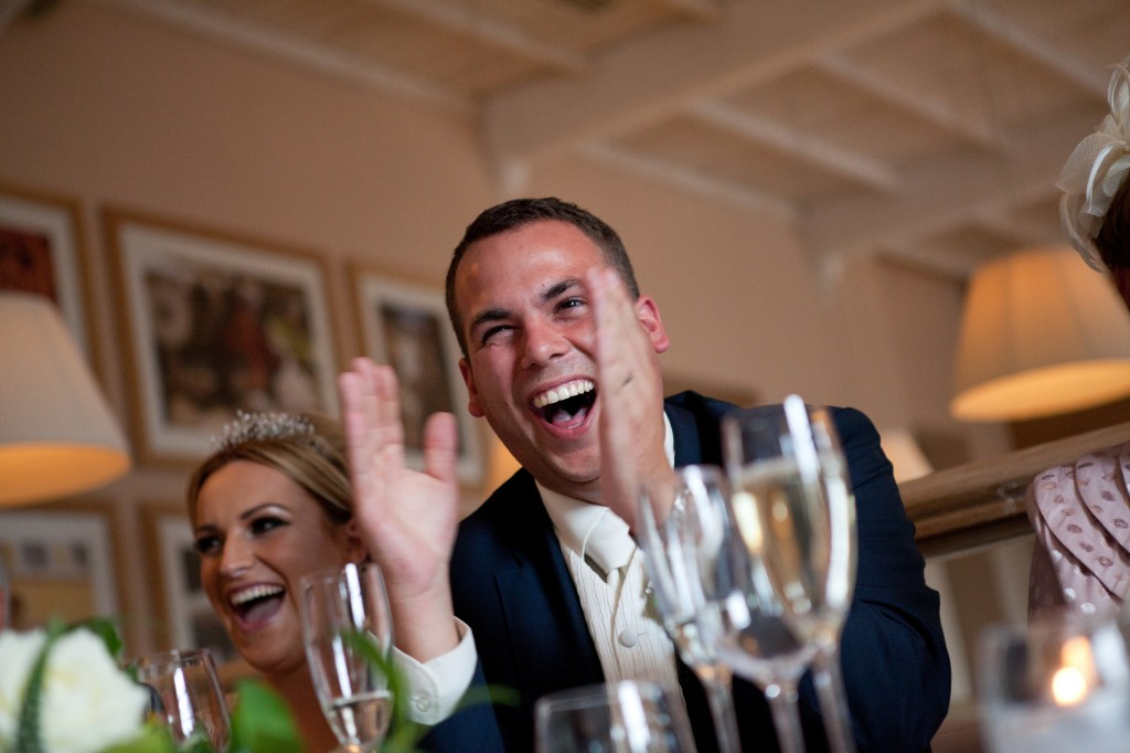One very happy groom at the top table. Lancashire Wedding Photography