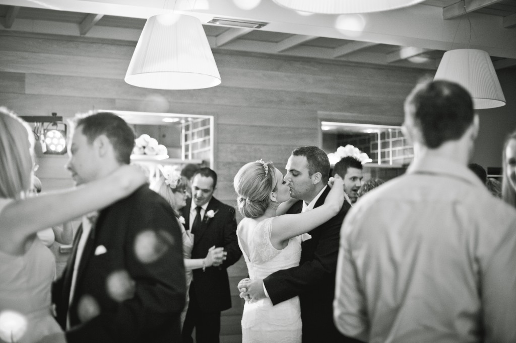 Kissing during the first dance, Lancashire Wedding Photography