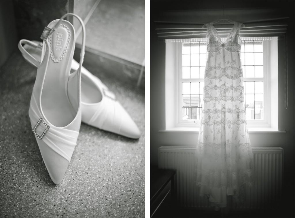 Beautiful wedding shoes and wedding dress, Lancashire Wedding Photography