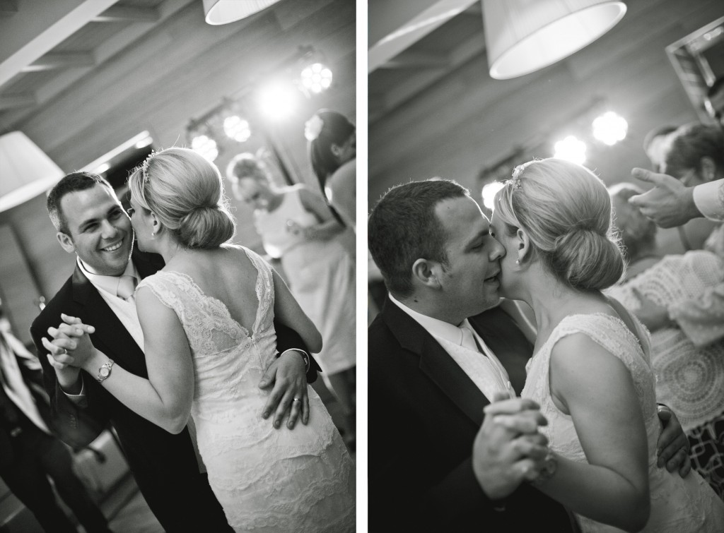 First dance - groom whispers sweet nothings to his bride