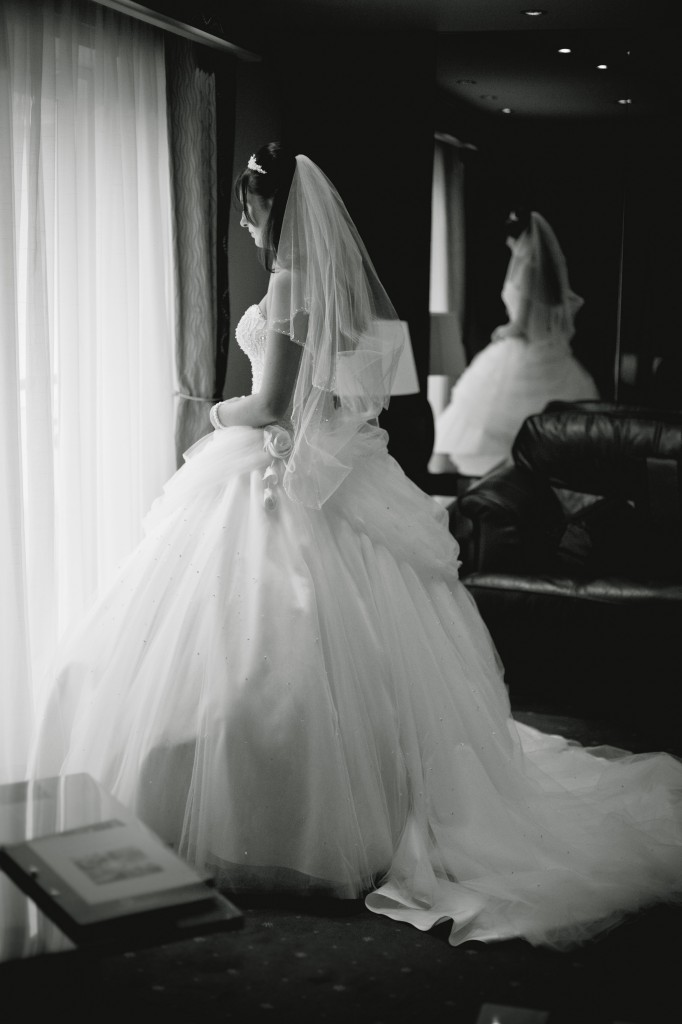 Bride Reflected in the Mirror of Suites Hotel Bridal Suite Livepool