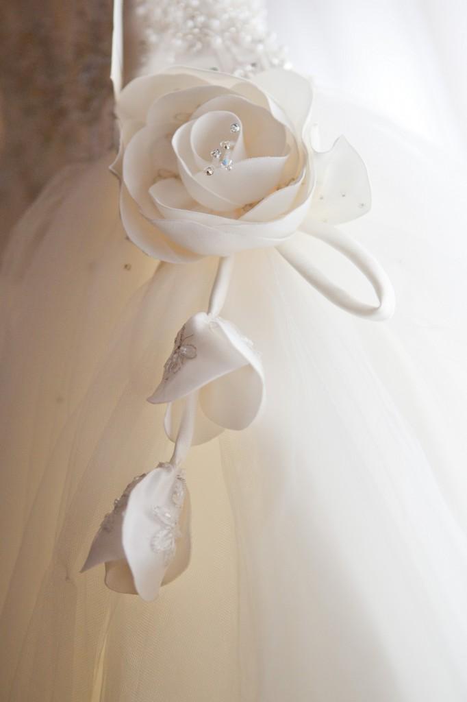 Beautiful Rose on Wedding Dress - Liverpool Wedding Photography