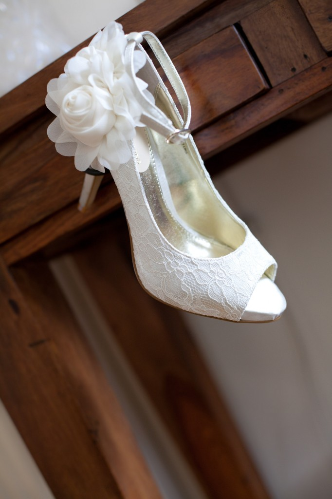 Beautiful Wedding Shoes, Lacy with Flower Details