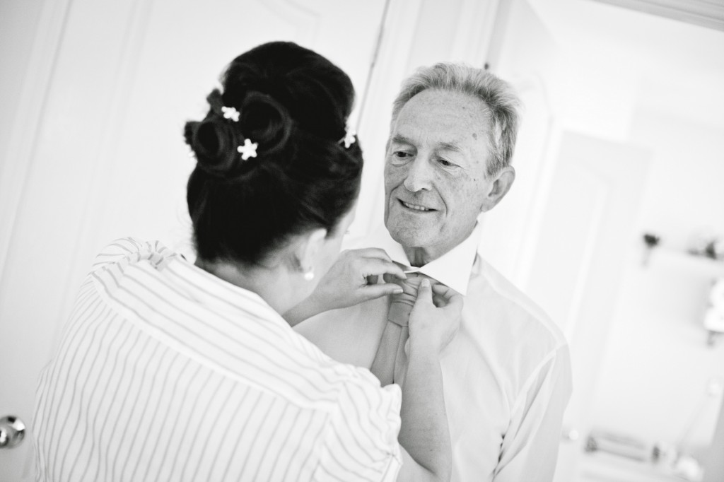 Father of Bride Putting on Tie Wedding Photography