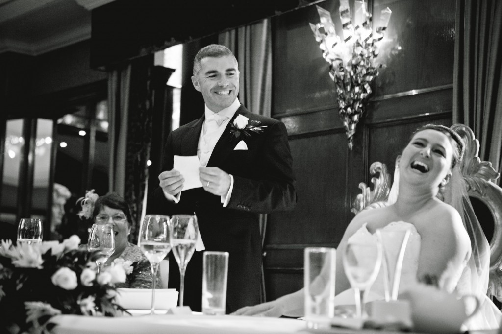 Groom Cracking up his bride at Alicia Hotel, Liverpool Wedding Photography