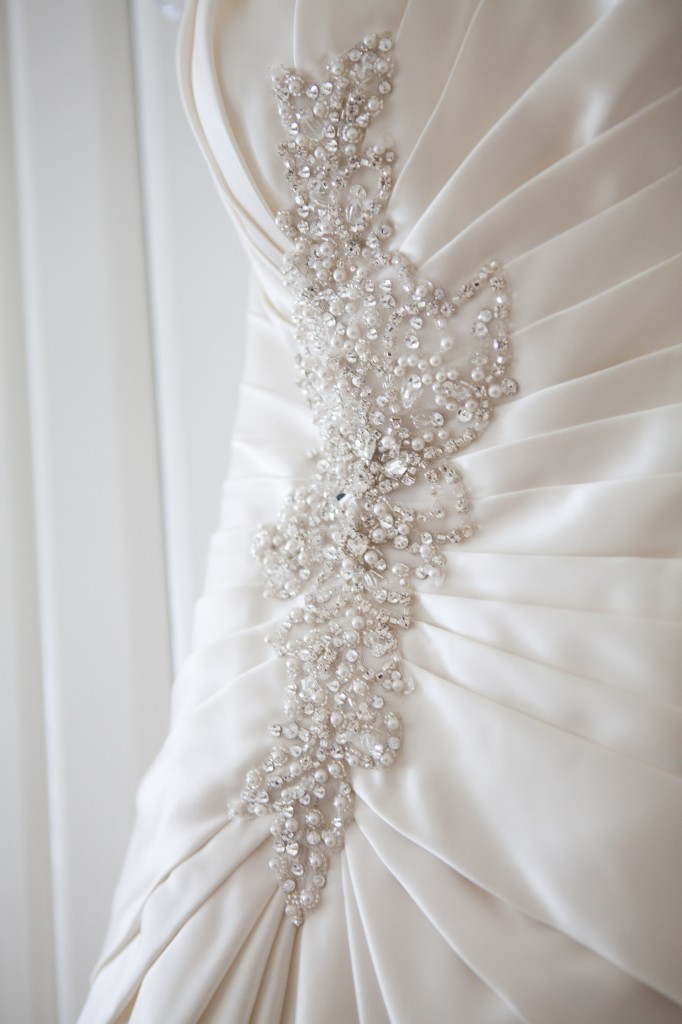 Beautiful Beading Detail on Wedding Dress - Suites Hotel Wedding Photography