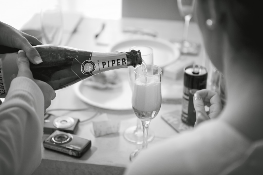 Champagne During Bridal Preparation Suites Hotel Wedding Photography