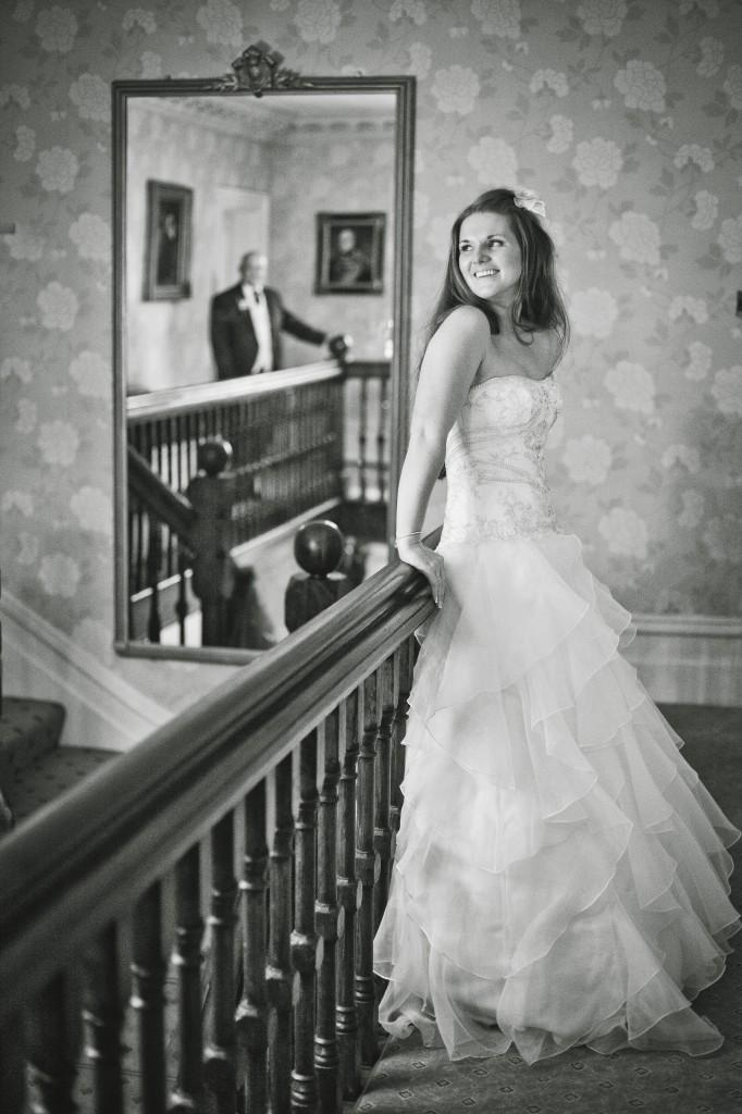 Mirror Reflection of Groom at Northop Hall Wedding Photography