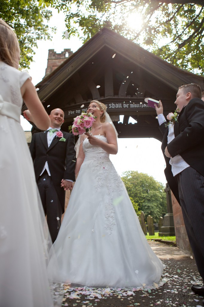 Beautiful sunny day! The bride and groom greet their guests. Ashfield House Lancashire