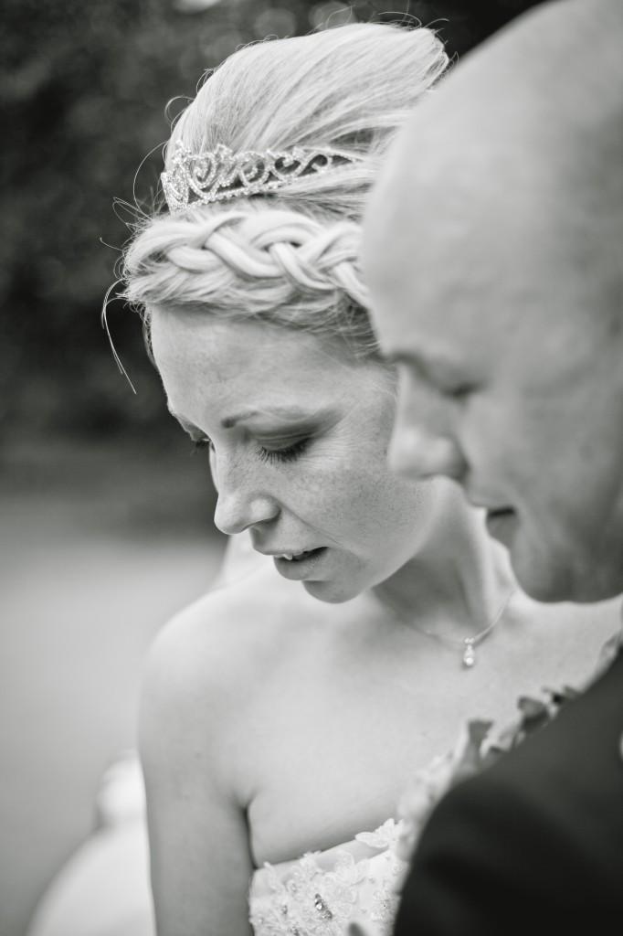 Beautiful bride looking down. Ashfield House Lancashire