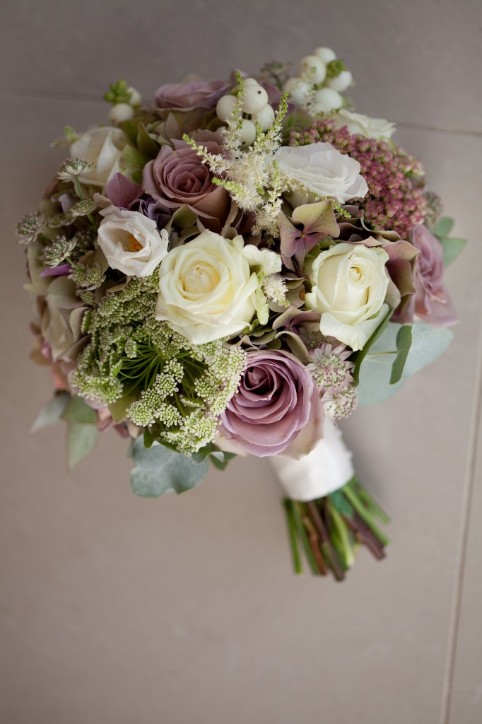 A shot of the stunning wedding flowers at West Tower, Lancashire