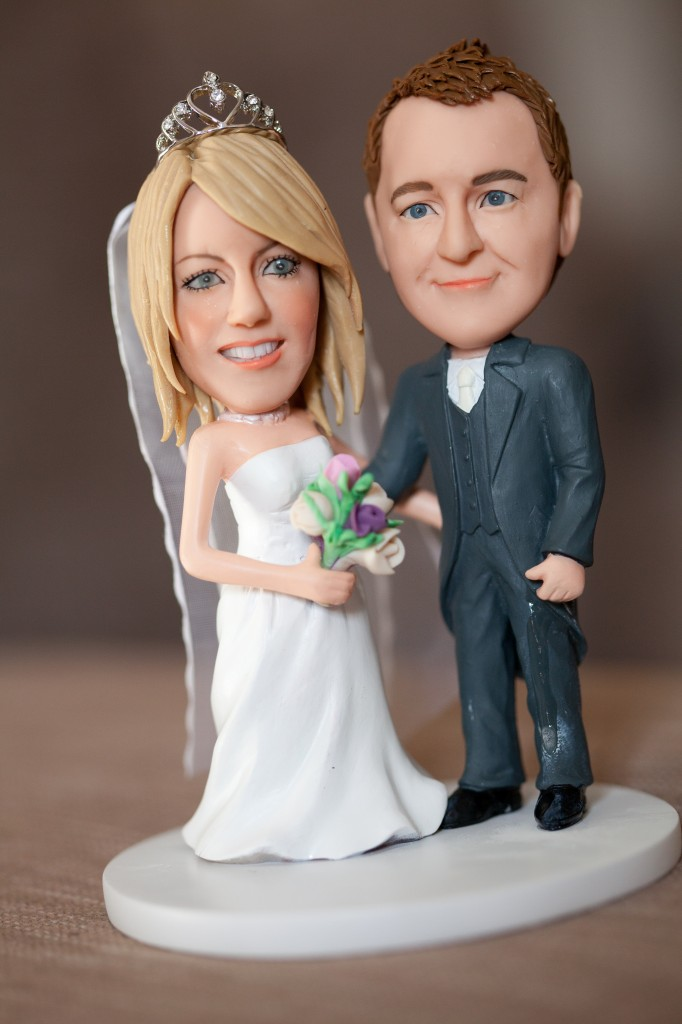 A character cake topper, a gift from the groom. Very detailed and almost true to life, this topper is sensational!