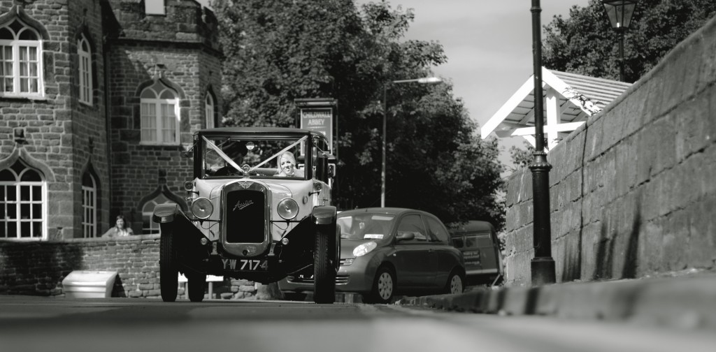 The bride arrives in her wedding car. Beautiful Lancashire Wedding Photography
