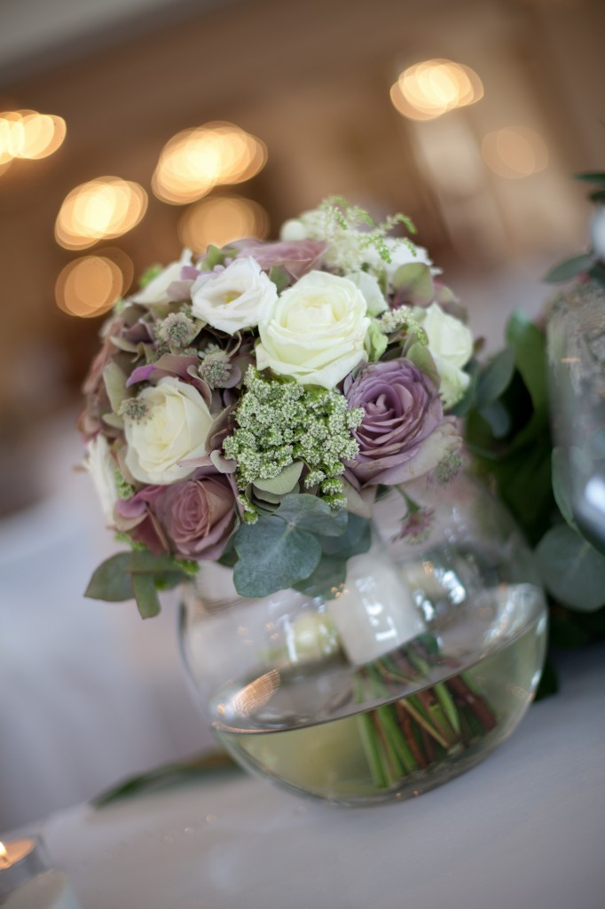 Beautiful table decorations at West Tower, Lancashire