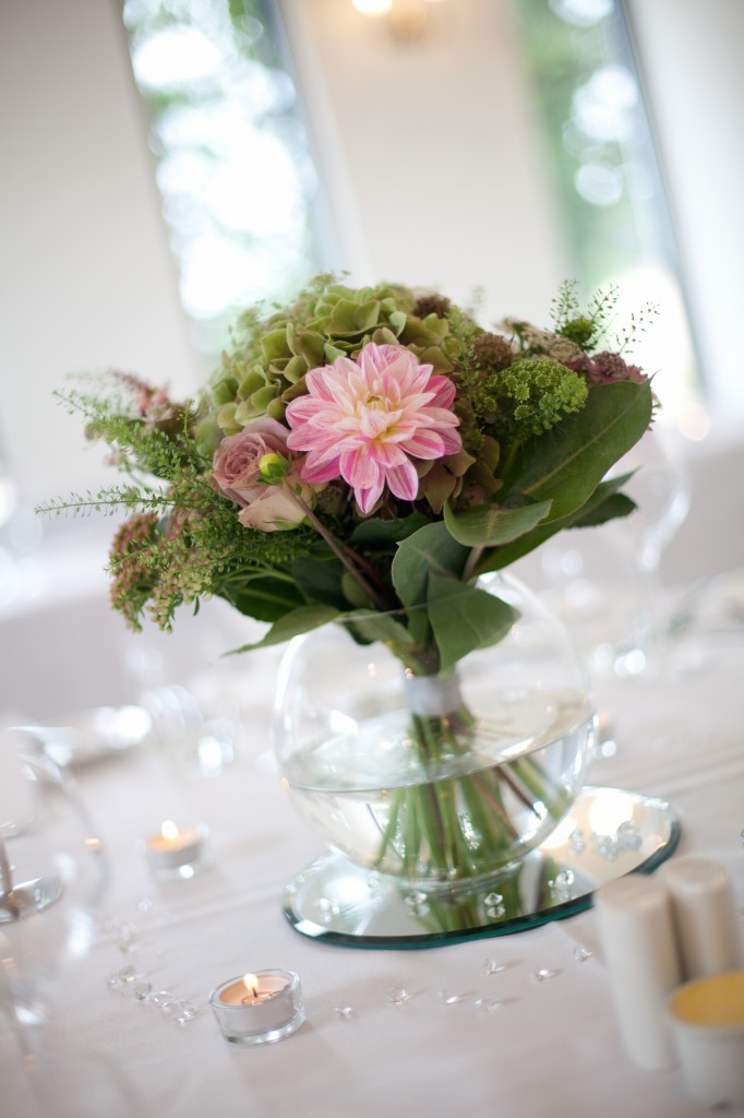Wedding flowers from one of the tables at the reception