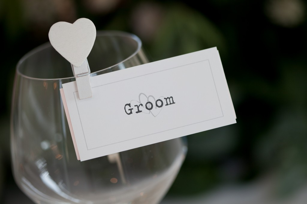 Groom place card at a wedding reception in Lancashire