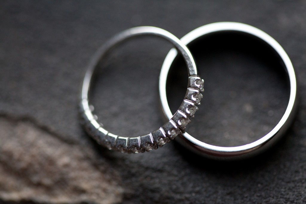 Macro wedding photograph of rings at West Tower Wedding Venue